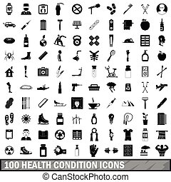 100 health condition icons set, simple style - 100 health...