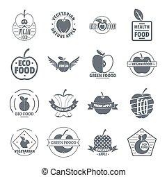 Apple logo icons set, simple style - Apple logo icons set....