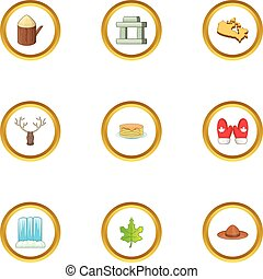 Ottawa icons set, cartoon style - Ottawa icons set. cartoon...