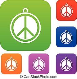 Rock sign set color collection - Rock sign set icon color in...