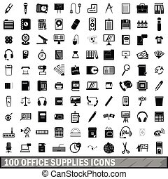 100 office supplies icons set, simple style - 100 office...