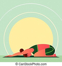 Girl in Yoga Childs Resting Pose or Balasana