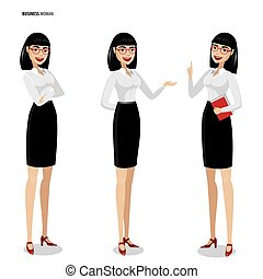 Set of businesswomen on white background - Business woman |...