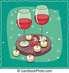 Composition with red wine and engagement ring
