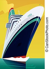 Cruise liner cuts through the waves - Big beautiful cruise...