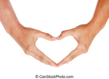 Heart - humans hands forming a heart over white background