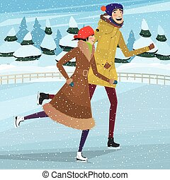 Couple on private ice rink - Couple skating on ice rink in...