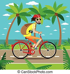 Bicycler travels in jungle - Vector illustration on color...