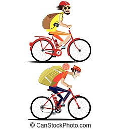 Set of bicyclists - Vector illustration on white background...