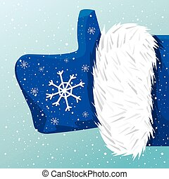 Father Christmas like it - Vector icon thumbs up Father...
