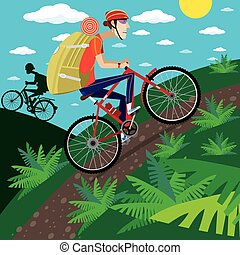 Cycler in the mountains - Vector illustration on color...