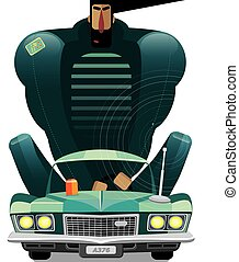 Man in retro car - Vector illustration on white background...
