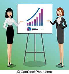 Business women showing graphics - Successful concept, two...