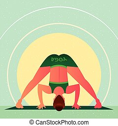 Girl in Yoga Wide Angle Standing Forward Bend - Sporty girl...