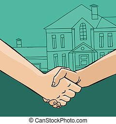Handshake with house - Two men shaking hands on the...