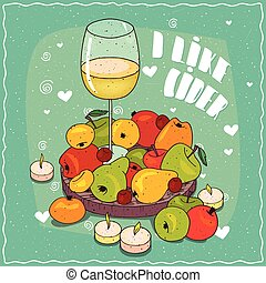 Composition with cider and pears and apples
