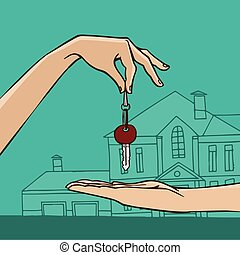Hand holding house key - House key from hand to hand - house...