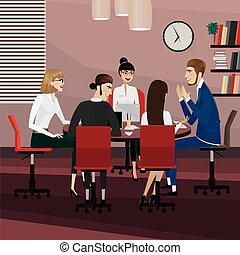 Business people meeting - Business men and women at meeting...