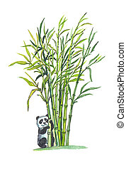 Giant Panda in bamboo forest