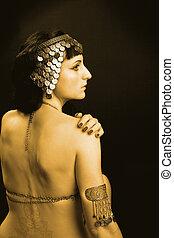 kvinna, prinsessa, egypten, guld, dräkt