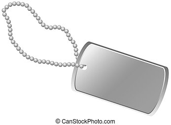 Dog Tag - Blank army dog tag isolated on white background