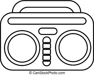 Vintage boombox icon , outline style - Vintage boombox icon....