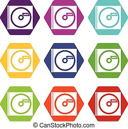 CD with danger lettering icon set color hexahedron - CD with...