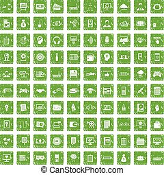 100 IT business icons set grunge green - 100 IT business...