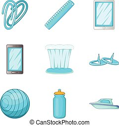 Cerulean icons set, cartoon style - Cerulean icons set....