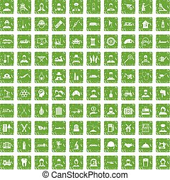 100 job icons set grunge green - 100 job icons set in grunge...
