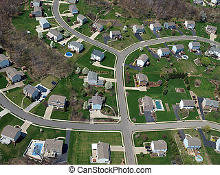 Spacious Suburbia - Middle class homes and yards in a modern...