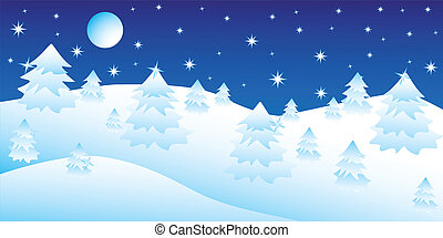 Christmas night in the winter forest, postcard, background...