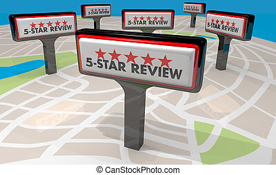 5 Star Review Restaurant Store Signs 3d Illustration
