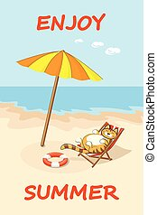 cat on a beach in shadow - Colorful drawn cartoon cat on the...