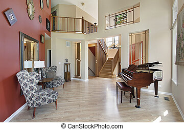 Living room with view into foyer
