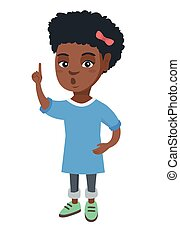 African girl with open mouth pointing finger up. - Happy...