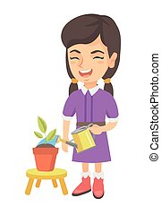 Caucasian girl watering plant with a watering can.