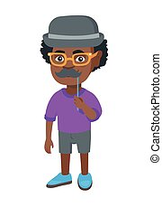 Little african-american boy with a fake mustache. - Little...