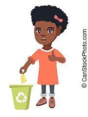 Little girl throwing banana peel in recycling bin. - Little...