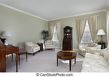 Living room with white carpeting - Living room in suburban...