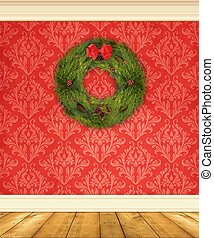 Red Damask Wall With a Christmas Wreath