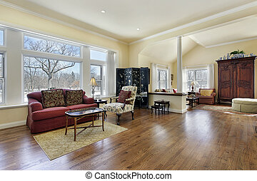 Living room with white column