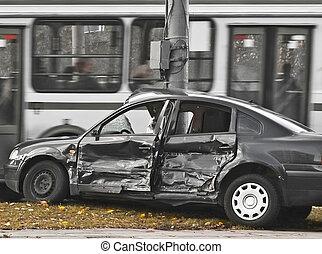 broken-up - broken car among urban traffic