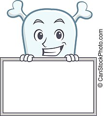 Grinning with board skull character cartoon style