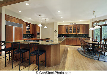"Kitchen with ""L"" shaped center island - Kitchen in luxury..."