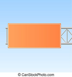 Image of an orange highway sign isolated on a blue sky background.