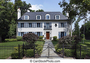 Luxury home with blue shutters - Luxury home in suburbs with...