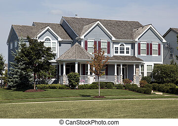 Home with red shutters and cedar roof - Large home with red...