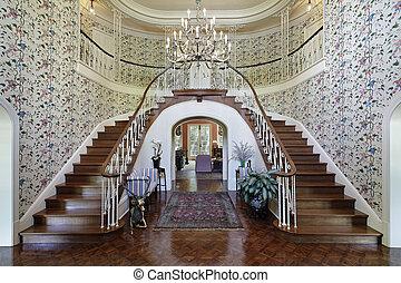 grande, vestíbulo, doble, escalera