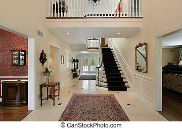 Foyer with second floor landing - Large foyer in luxury home...